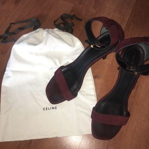 Burgundy Suede Celine Square-Toe Sandals